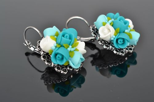 Unusual polymer clay flower earrings Turquoise - MADEheart.com