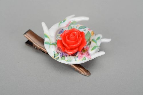 Brooch hairpin made ​​of polymer clay Rose - MADEheart.com