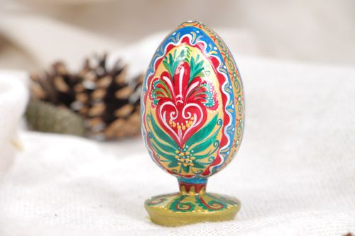 Handmade designer painted wooden egg Easter interior decor - MADEheart.com