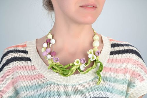 Unusual beautiful handmade crochet soft ball necklace with flowers - MADEheart.com
