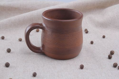 Brown clay mug - MADEheart.com