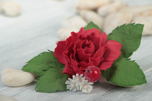 Handmade festive brooch unusual stylish accessory jewelry in shape of rose - MADEheart.com