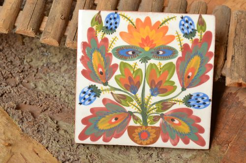 Clay tile with floral ornaments majolica ceramics handmade decorative wall panel - MADEheart.com