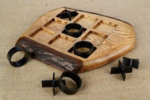 Wooden Game with Metal Elements Tic Tac Toe - MADEheart.com