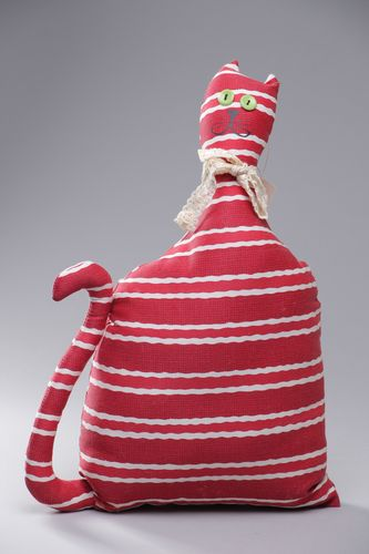 Handmade interior cotton pillow pet in the shape of red striped cat - MADEheart.com