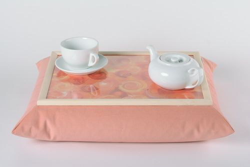 Handmade decorative tray cushion in gentle pink color with picture home decor - MADEheart.com