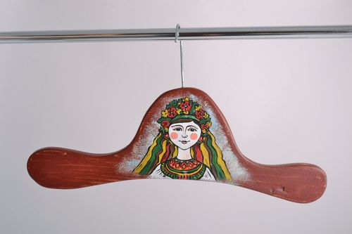 Handmade decorative wooden clothes hanger with painted image of Ukrainian girl - MADEheart.com