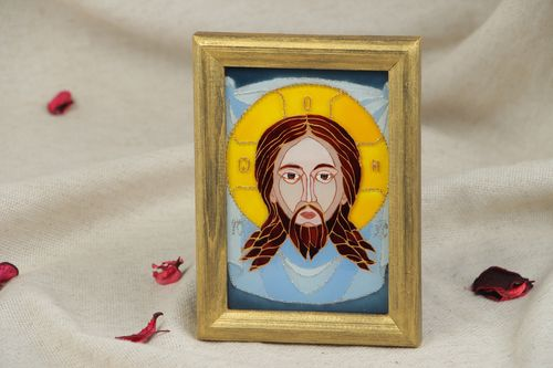 Handmade stained glass Icon of Christ Not Made by Hand equipped with frame - MADEheart.com