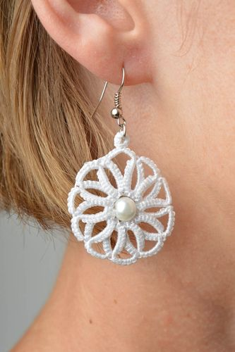 Unusual handmade woven lace earrings textile jewelry designs accessories for her - MADEheart.com