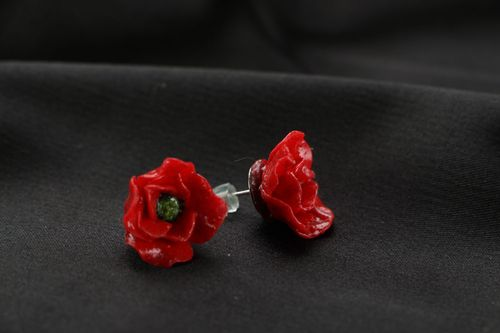Polymer clay earrings Poppies - MADEheart.com