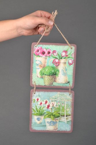 Unusual decoupage panel Flowerpots - MADEheart.com