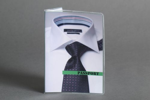 Handmade white plastic passport cover with image of collar and tie for men - MADEheart.com