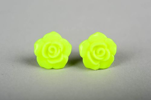 Handmade bright cute earrings unusual plastic earrings stud earrings for summer - MADEheart.com
