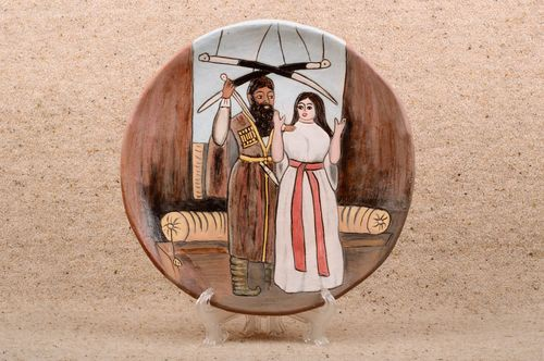 Handmade designer ceramic wall plate decorative wall panel interior design - MADEheart.com