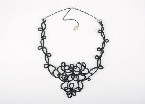 Black Knitted Necklace - MADEheart.com