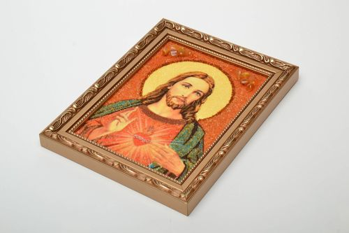 Reproduction of Catholic icon of Jesus Christ decorated with amber - MADEheart.com