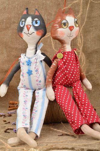 Set of 2 handmade cotton fabric soft toys Cats with aroma fragrance for kids - MADEheart.com