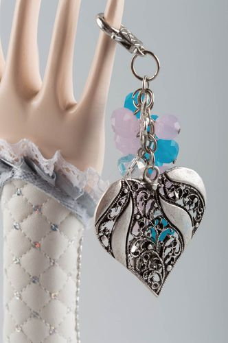 Beautiful handmade metal keychain with glass beads and heart shaped charm - MADEheart.com