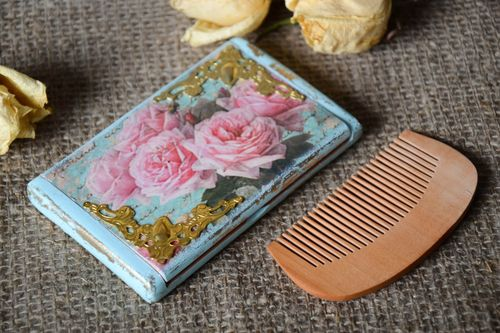 Set of handmade women accessories wooden hair comb hand mirror with decoupage - MADEheart.com