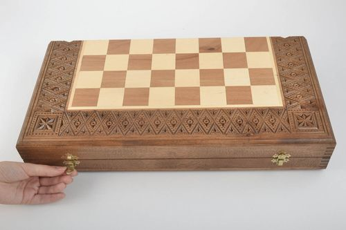 Handmade wooden chessboard board games chess board design gifts for men  - MADEheart.com