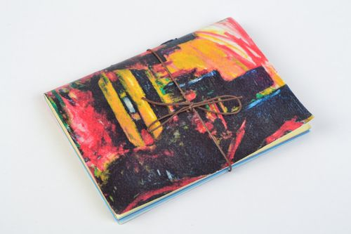 Handmade designer colorful notebook with laser print with ties for 48 pages - MADEheart.com