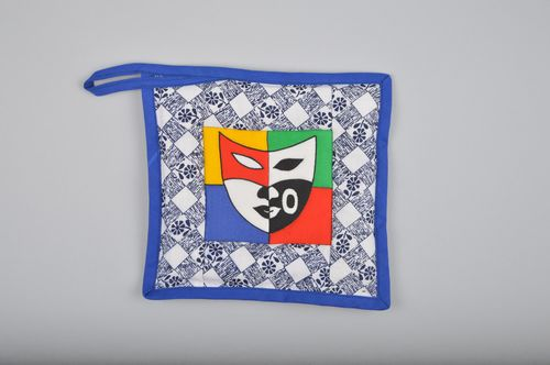 Handmade colorful square hot pot holder sewn of cotton with pattern for kitchen - MADEheart.com