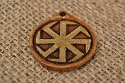 Handmade small round natural wood carved protective amulet pendant Cross of Lada - MADEheart.com