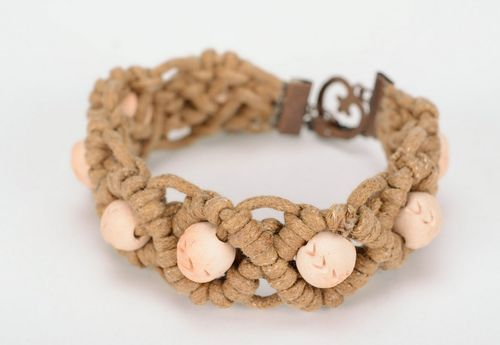 Braided bracelet, ceramics, cotton thread - MADEheart.com
