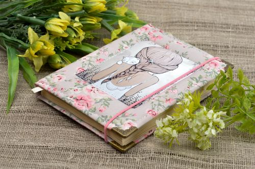 Handmade notepad stylish cotton notebook designer notepad with fabric cover - MADEheart.com