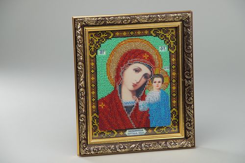 Handmade bead embroidered icon of the Kazan Mother of God present for believer - MADEheart.com