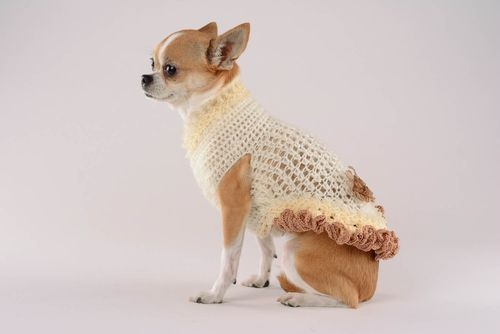 Hand knitted dress for a dog Waffles and lace - MADEheart.com