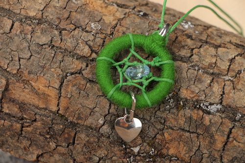 Handmade ethnic dreamcatcher pendant necklace of green color on cord for women - MADEheart.com