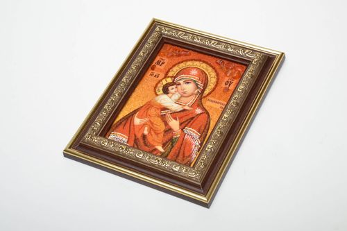 Amber decorated icon Vladimir Mother of God - MADEheart.com