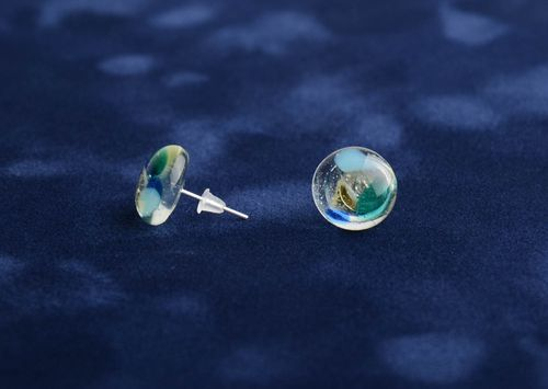 Glass fusing earrings handmade miniature designer summer accessory for every day - MADEheart.com