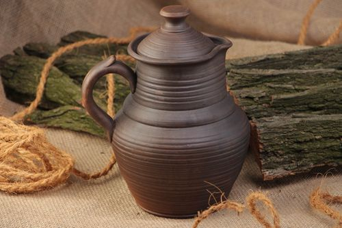 45 oz clay handmade milk pitcher in brown color 9 inches, 2 lb - MADEheart.com