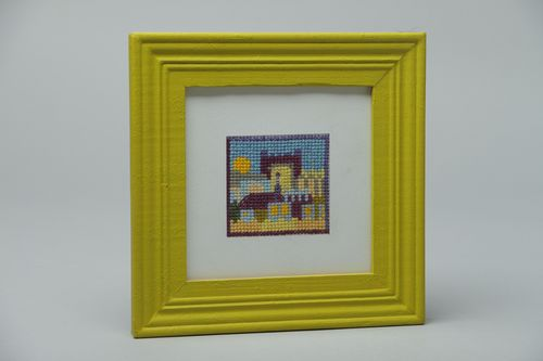 Cross stitch embroidered picture in wooden frame - MADEheart.com