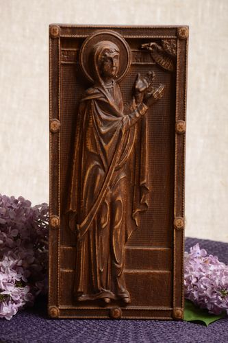 Handmade wall panel carved wooden icon decorative icon St Prophetess Anna - MADEheart.com