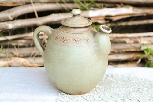 Handmade clay tableware ceramic teapot tea handmade tableware ethnic pottery - MADEheart.com