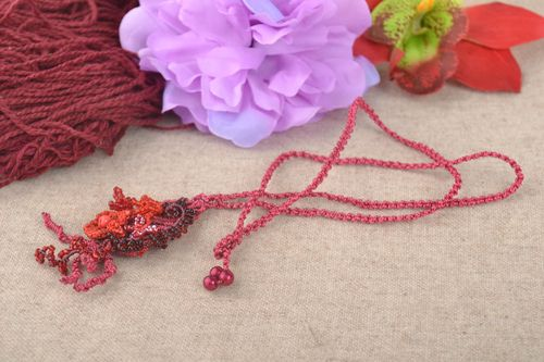 Handmade macrame woven necklace designer accessories present idea for girls - MADEheart.com