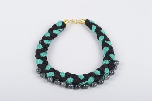 Handmade fabric necklace with beads necklace stylish jewelry designer accessory - MADEheart.com