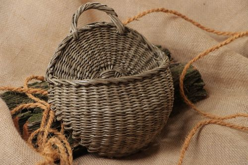 Handmade grey stylish wicker ornamental flowerpot made of paper tubes with handle  - MADEheart.com