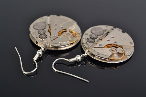 Handmade designer round metal earrings in steampunk style with clock mechanism  - MADEheart.com