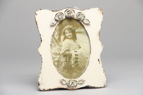 Artificially aged wooden photo frame - MADEheart.com