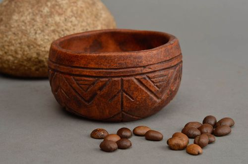 Handmade cute brown bowl unusual designer pottery stylish interior decor - MADEheart.com