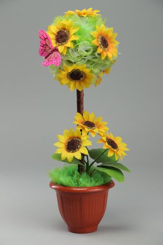 Handmade interior green and yellow topiary with artificial flowers in plastic pot - MADEheart.com