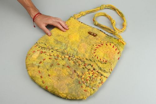 Ethnic bag made of felted wool and gauze Colors of Autumn - MADEheart.com