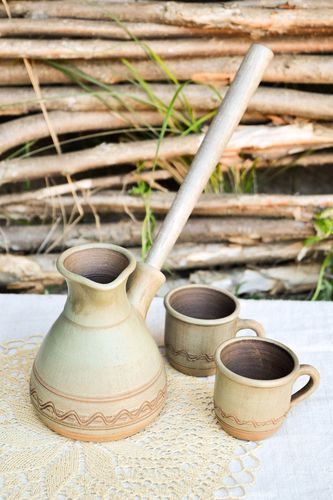 Handmade ceramic cezve 2 clay coffee cups pottery works kitchen supplies - MADEheart.com