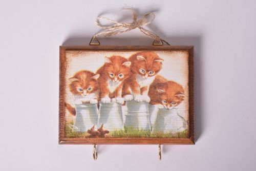 Unusual handmade key holder wood craft decorative wall hanging decoupage ideas - MADEheart.com