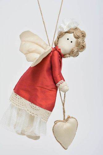 Beautiful nice handmade fabric soft toy with eyelet angel in red dress - MADEheart.com