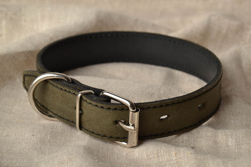 Handmade leather dog collar with metal - MADEheart.com